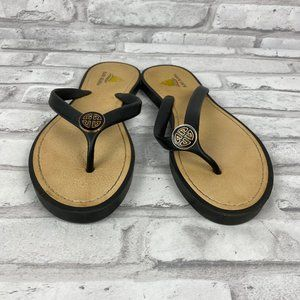 Aloha Island Black Flip Flop Sandals SZ 8 Like New